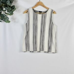 ann taylor sleeveless striped tweed top